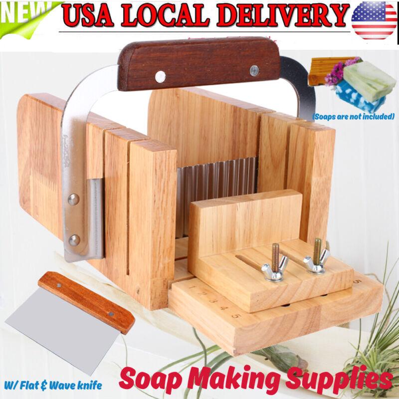 Adjustable Wood Soap W/ 2 Cutter Set Mold Handmade Loaf Soap Making DIY Tools