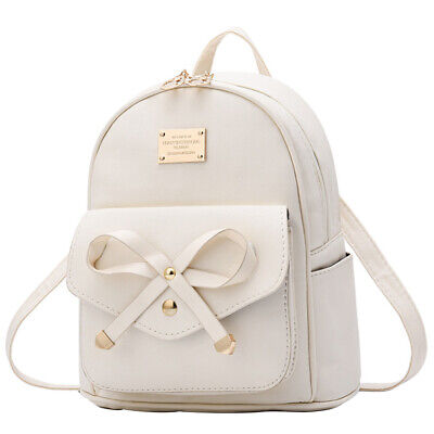 Women Bowknot Cute Faux Leather Backpack Mini Purse for Junior Girls