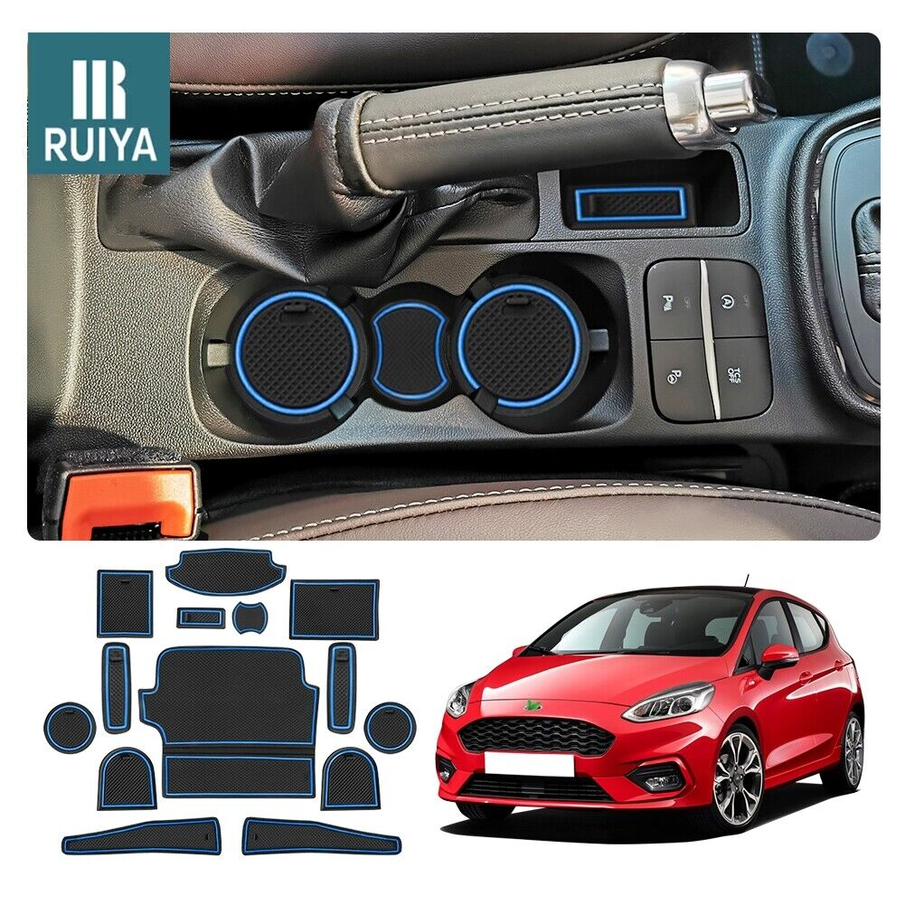 14pcs Car Center Console Slot Mats for Fiesta MK8 2017+ Anti Dust Cup Mat interior by Liner SHAOHAO