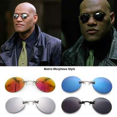 Matrix Morpheus Runden Randlos Sonnenbrille Herren Clip auf Nase Brille UV400