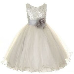 Flower-Girls-Sequin-Glitter-Beaded-Dress-Christmas-Pageant-Graduation-Silver-New