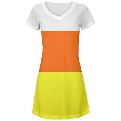 Costume Juniors V-Neck Beach Cover-Up Dress (Candy Corn Kleid)