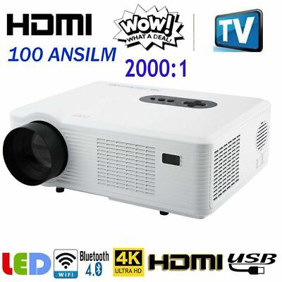LED Smart Home Theater LCD Projector Android 4K Wifi 1080p FHD 3D Video Movie WW