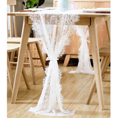 White Lace Wedding Table Runner for Rustic Chic Wedding Rece