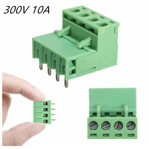 10 Pcs Green 4Pole 4-Pin 300V 10A Car SUV Plug-in Screw Terminal Block Connector