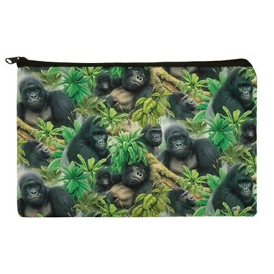 Gorilla Forest Family Pattern Makeup Cosmetic Bag Organizer Pouch - Gorilla Makeup