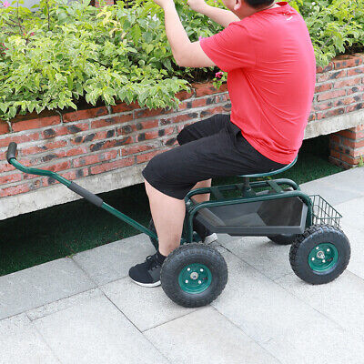 Roling Wheels Garden Cart Gardener Working Seat Tool Tray Basket Trolley Handle