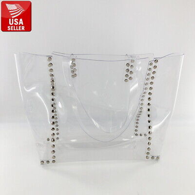 Big Large Beautiful Transparent PVC Clear Tote Handbag Bag with Clear Strap Big Handbag Tote