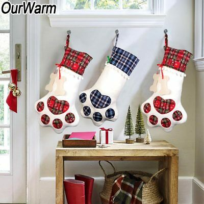 Pet Christmas Stocking Dog Paw Plaid Gift Bag Animal X-mas Stocking Candy Bags](Pet Christmas Stockings)