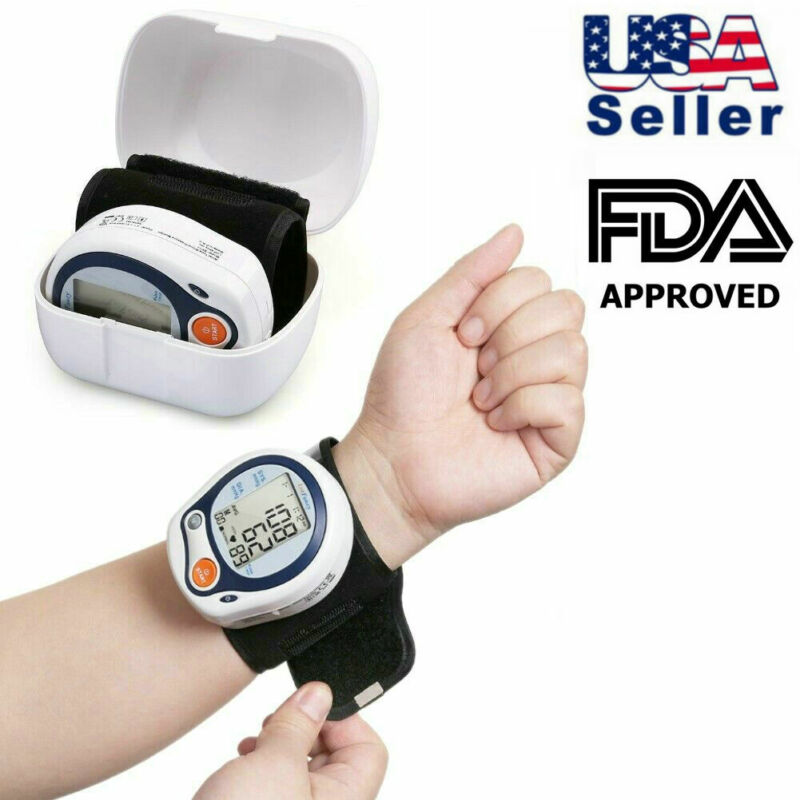 Automatic Wrist High Blood Pressure Monitor Bp Cuff Machine Heart Rate Gauge Kit
