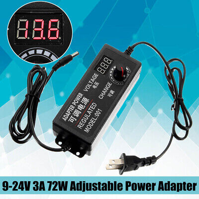 9-24v 3a 72w Adjustable Power Adapter Speed Control Volt Acdc Supply Display Us