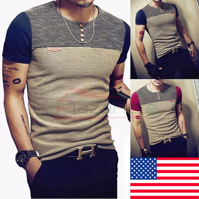 US Mens Knit Slim Fit O Neck Short Sleeve Muscle Tee  T-shirt Casual Top Blouse Mens Knit Casual Shirt