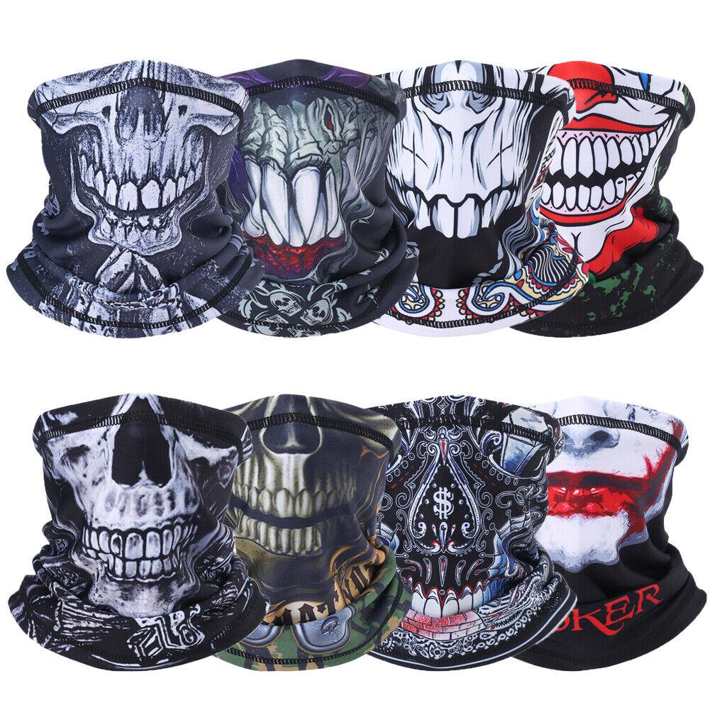 3D Skull Face Mask Balaclava Windproof Sun Neck Gaiter Tube