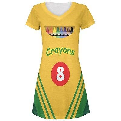 Crayon Box Costume All Over Juniors Beach Cover Up Dress