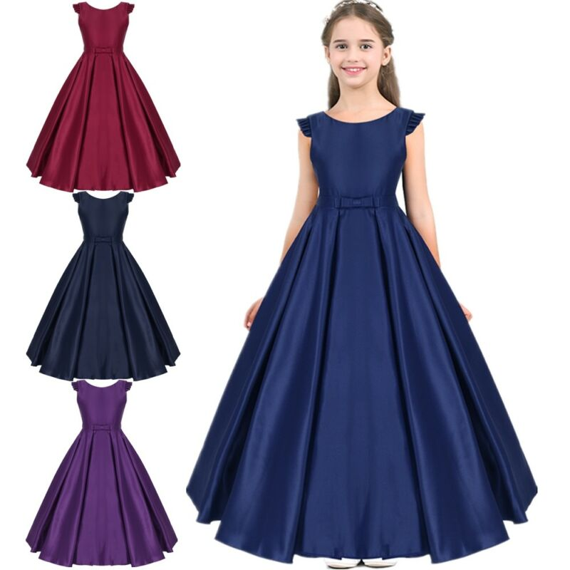 UK Flower Kid Girls Sequin Bridesmaid Wedding Pageant Party Formal Gown Dress