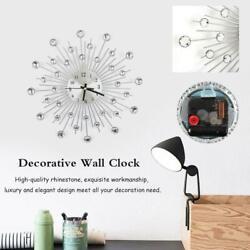 Modern Luxury Diamond Jewelled Silver Wall Silent Clock Time Office Room Decor
