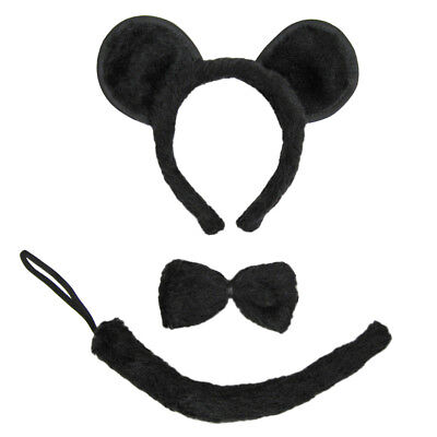 Black Mouse Ears, Tail, & Bow Tie Costume Set ~ HALLOWEEN FUN DRESS UP PARTY KIT - Mouse Tail Costume