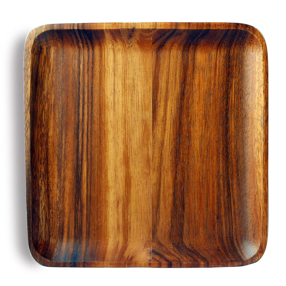 """10"""" Home Kitchen Dining Acacia Wood Square Serving Tray Dish"""