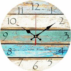 Coastal Decor 12 Wall Clock Blue Distressed Ticking Quartz Round Ocean Nautical