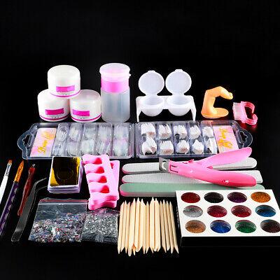 Acrylic Nail Art Tools Kit Acrylic Glitter Powders False Finger Nail Tips File