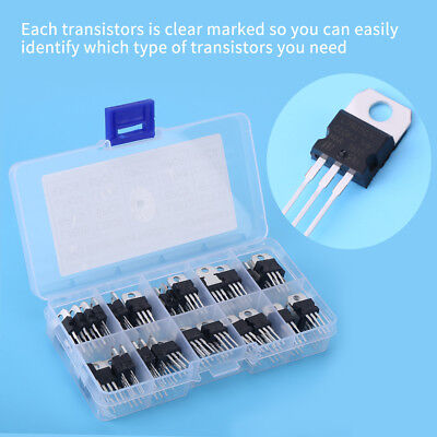 60pcs 10value L7805-lm317 Voltage Regulator Transistor Assortment Kit With Case