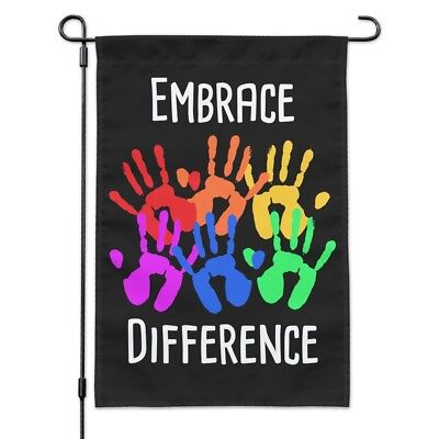 Embrace Difference Autism Hand Prints Garden Yard Flag
