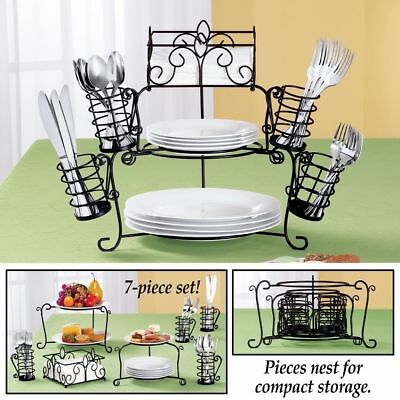 7 PC Serving Buffet Caddy Dinner Party Utensil Plates Napkins Organizer Stand ](Buffet Stand)