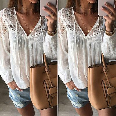 Sexy Fashion Women's Lace Tops Tee Long Sleeve Shirt Casual Blouse Loose T-shirt