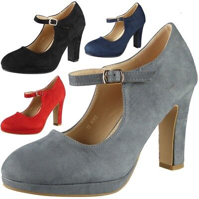 Ladies Court Shoes Womens Mary Jane Party Platform  Suede Buckle High Heel Size