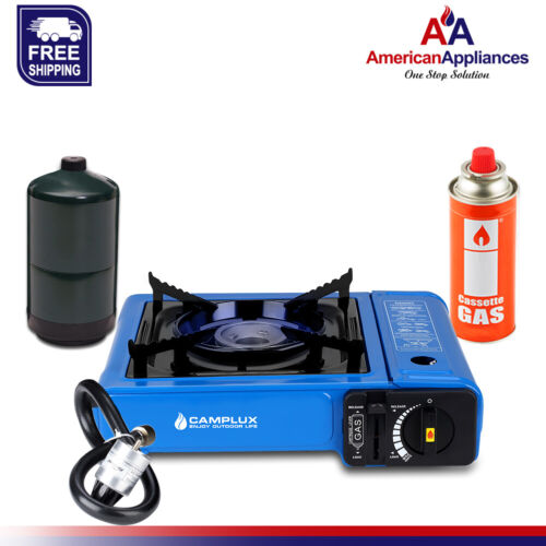 Camplux New Dual Fuel Propane & Butane Portable Outdoor Camping Gas Stove, Blue