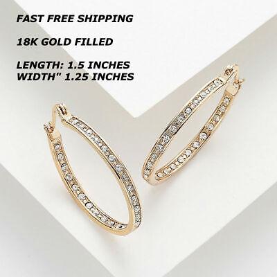 New Women Fashion Jewelry 14K Rose Gold Filled Oval Dangle Drop Hoop Earrings