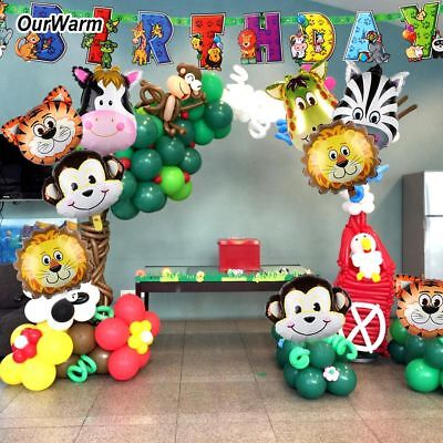 Safari Party Banner Animals Balloons Jungle Theme Kids Birthday Party Supplies - Jungle Birthday Party