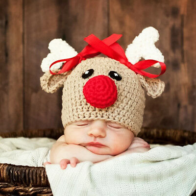Christmas Crochet Reindeer Elk Cap Beanie Hat for Baby Girls