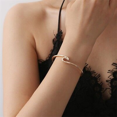 Fashion Women Girls Boho Punk Cuff Wave Bracelet Bangle Wristband Charm Jewelry](Girls Charm Bracelets)