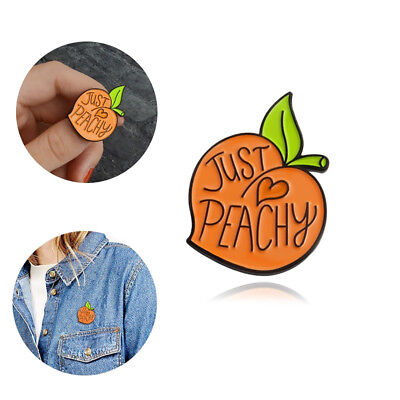 1Pc Orange Peach Heart Pattern Enamel Letter Brooch Pin Collar Pin Decor New Tre