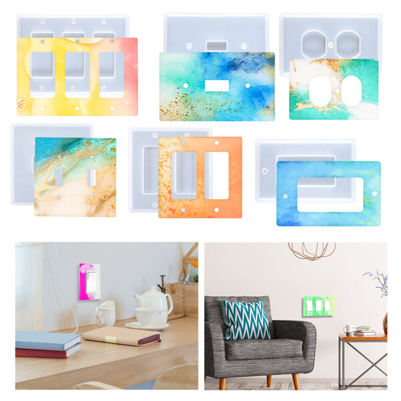 6 x Light Switch Cover Resin Molds Set Silicone Outlet Wall Plate Cover Mold DIY
