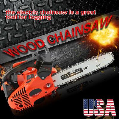 "12"" 25.4CC Gas Powered Chain Saw Home Tree Trimming Chainsaw Wraparound Handle"
