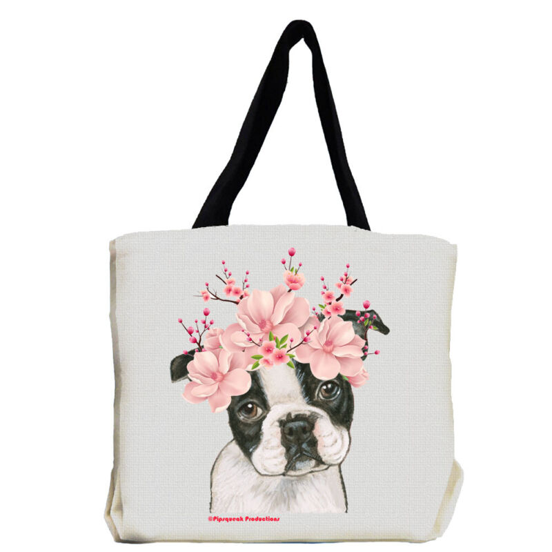 Boston Terrier Dog with Flowers Tote Bag