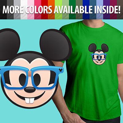 Mickey Emoji (Nerd Glasses Mickey Mouse Face Emoji Disney Unisex Mens Tee Crew Neck T-Shirt)