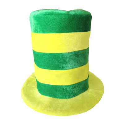 Yellow & Green Striped Velvet Top Hat ~ STOVEPIPE, HALLOWEEN, IRISH, ST. PATRICK (Striped Top Hat)