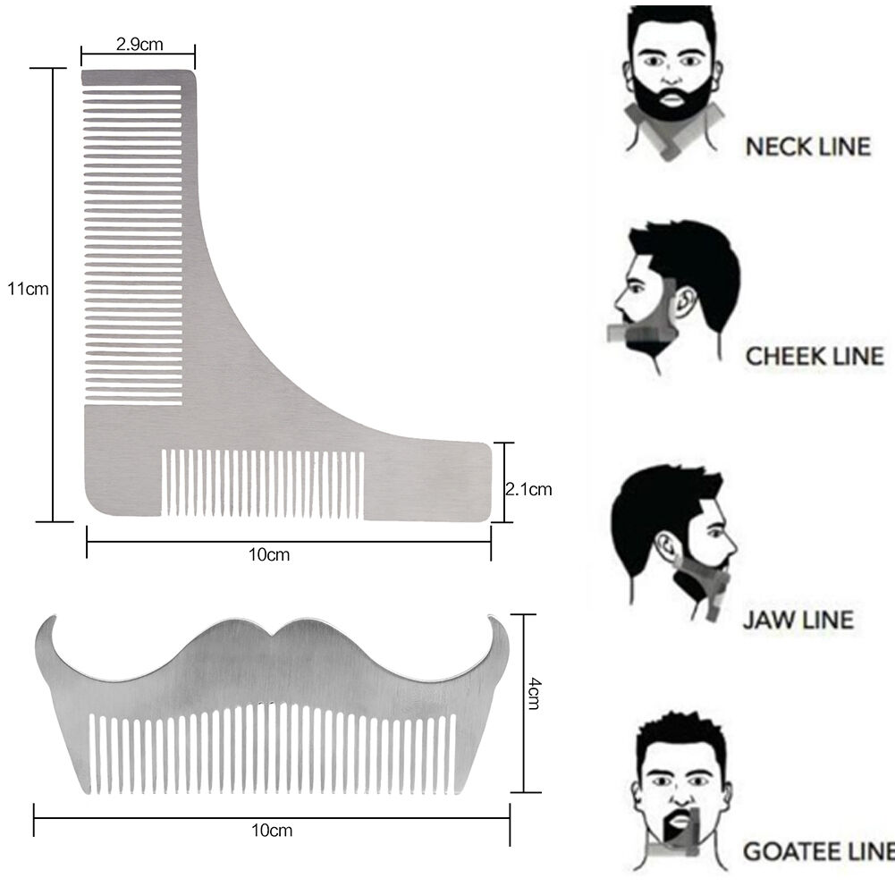 goatee trimming template - 2 pcs stainless steel beard shaving comb mustache modeling