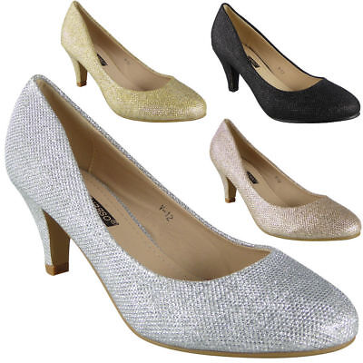 Women Court Shoes Ladies Bridesmaid Heel Wedding Glitter Bridal Party Big Sizes