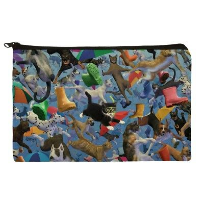 Raining Cats and Dogs Makeup Cosmetic Bag Organizer Pouch