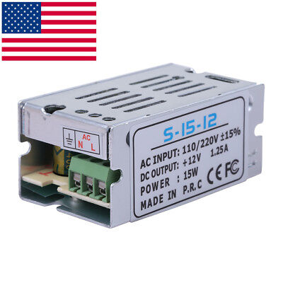 DC 12V 1.25A 15W Universal Regulated Switching Power Supply Adapter AC 110-220V (1.25a Power Supply)