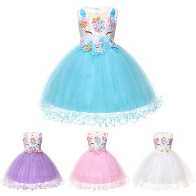Toddler Flower Costume (Unicorn Flower Baby Girl Dress Toddler Princes Birthday Party Fancy Costume)