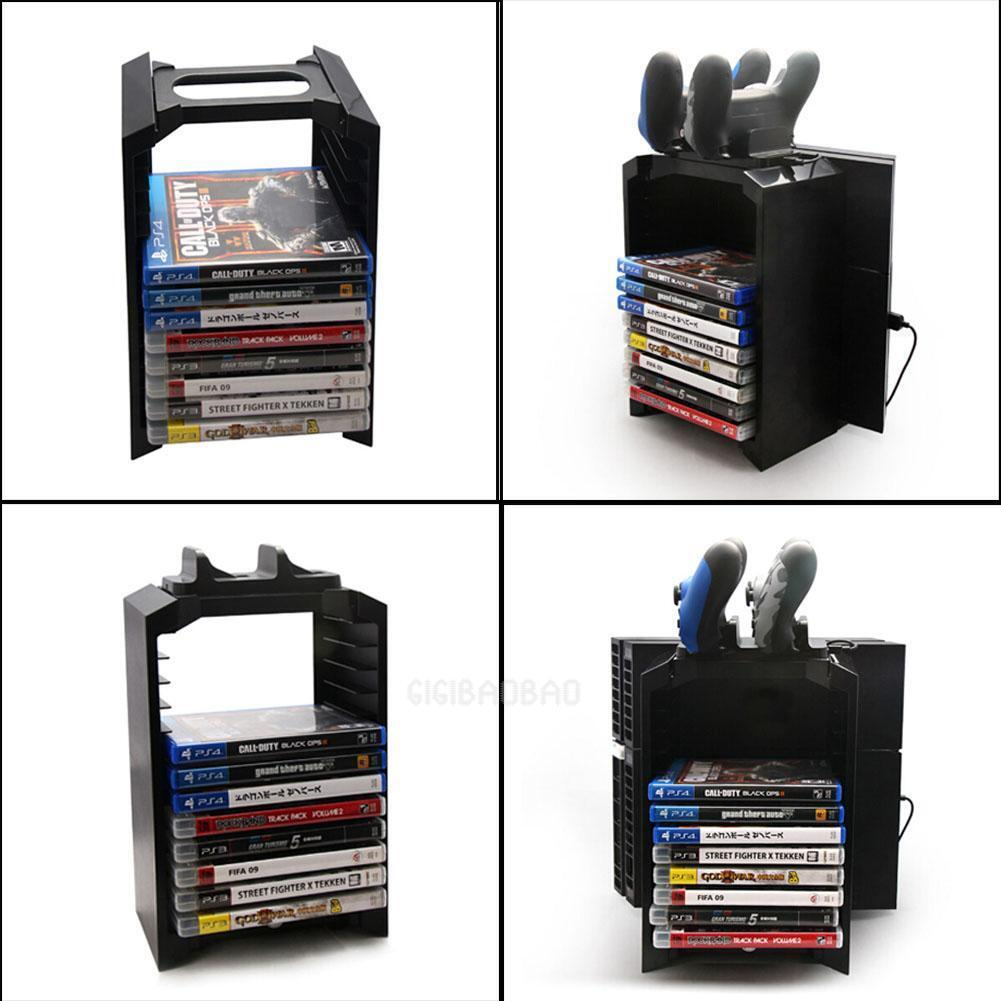 Game Tower Disk Storage Stand Kit Controller Charging for Playstation 4 PS4/Slim
