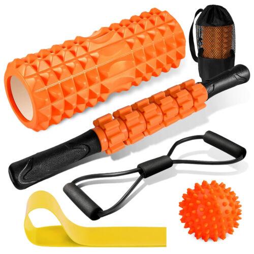 Foam Roller Set Deep Tissue Massage Ball Muscle Roller Stick Resistance Bands