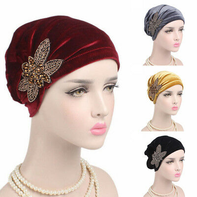 Velvet Turban - Women Flower Muslim Beanie Cancer Chemo Velvet Hat Turban Head Wrap Cap Showy