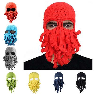 Cthulhu Octopus Head Mask Halloween Costume Winter Warm Knit Beard Cap Beanie