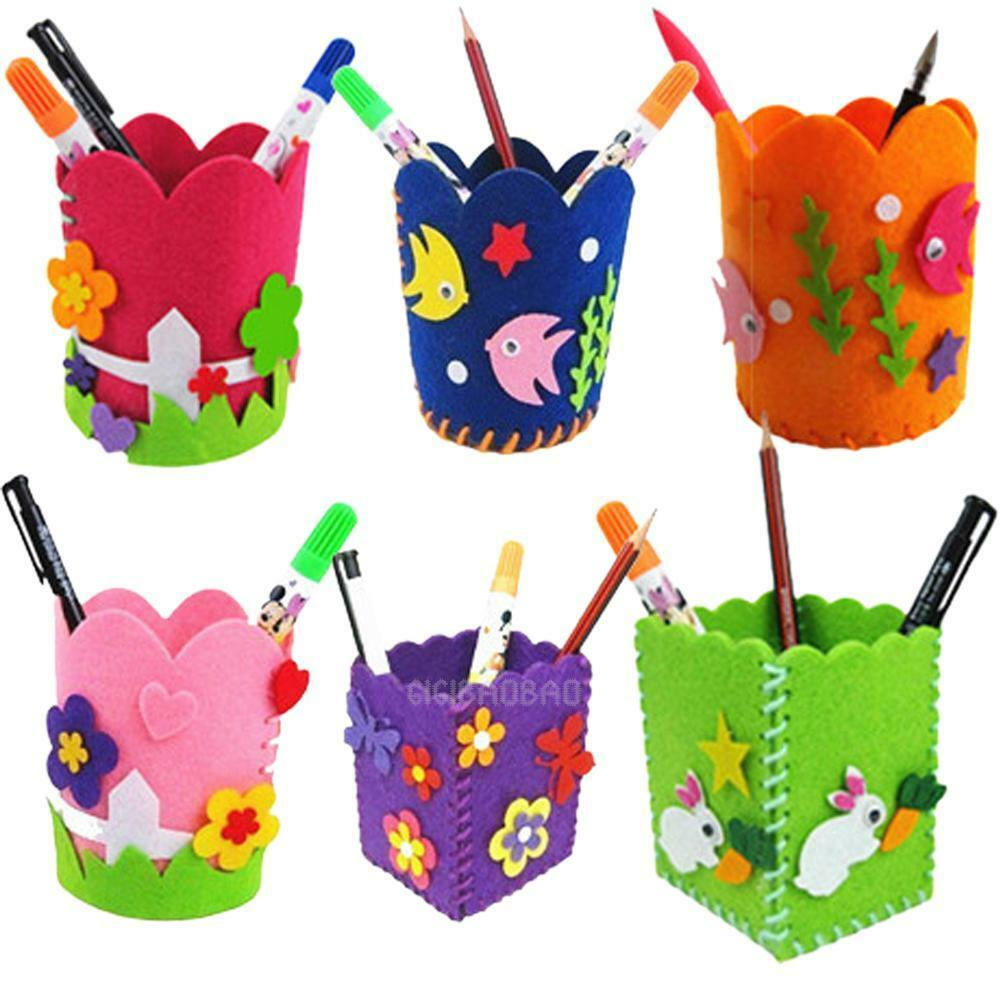 Cute Creative Handmade Pen Container DIY Pencil Holder Kids Learning Craft Toy